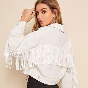 Jackets & Blazers - White denim fringe jacket